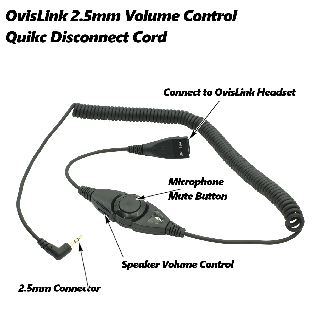 2.5mm quick disconnect cord with volume control and mute